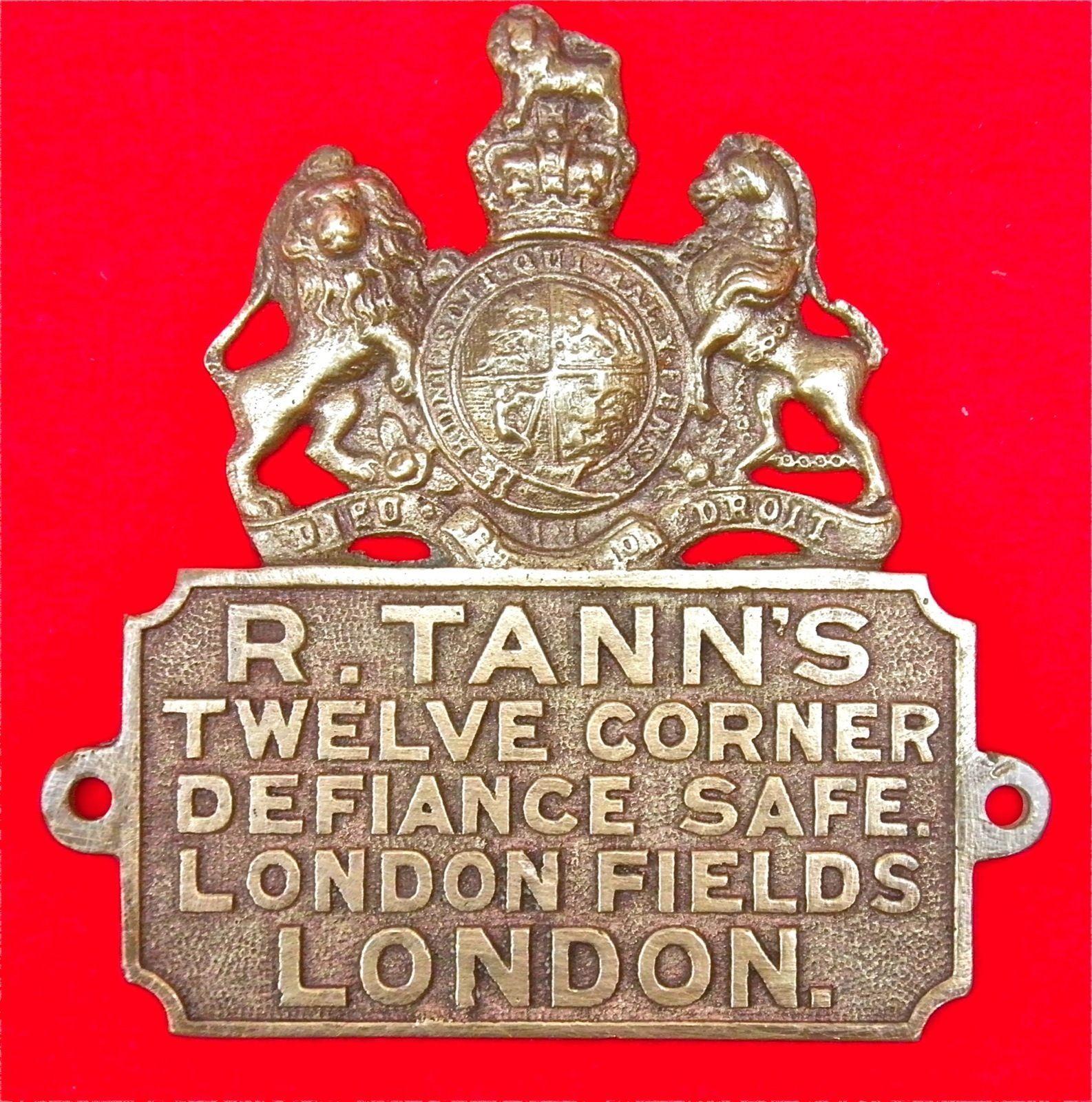 VERY RARE ANTIQUE ORIGINAL CAST BRASS TANN'S DEFIANCE LONDON