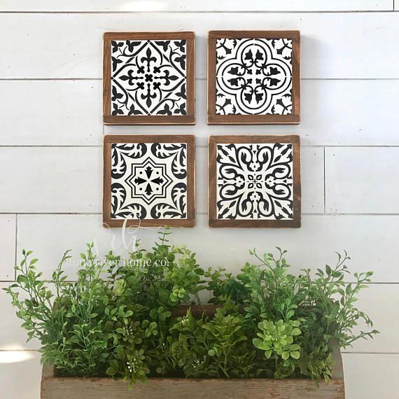 Set of 4 Spanish tiles mini wood signs | wall decor | farmhouse decor | rustic decor | fixer upper | Gallery wall decor