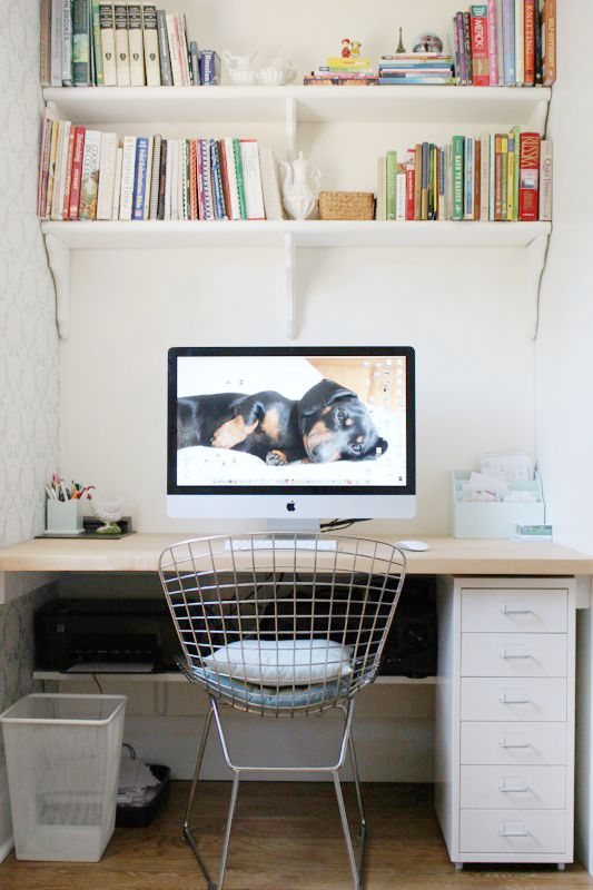 At Home With Toshiko Shek A Beautiful Mess Printer Storage Shelves Above Desk Office Nook