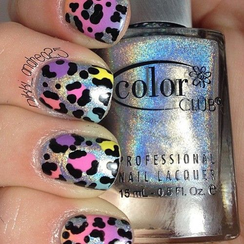 Holographic leopard print nails