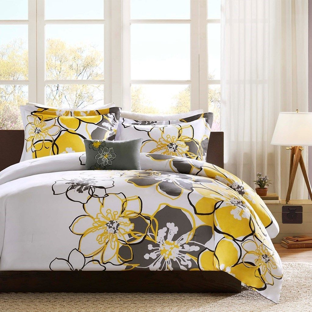 Antique Yellow Grey White Floral Comforter Set And Decorative Pillow Allison Yellow Comf Bed Comforter Sets Comforter Sets Bedding Sets