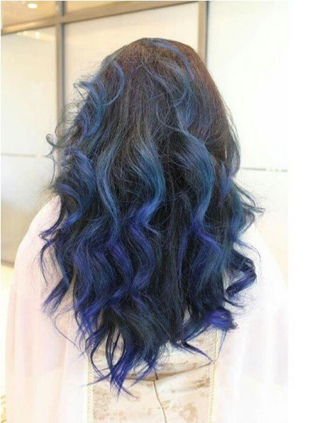 A Blue Ombre In Streaks Brown Curly Hair Dark Ombre Hair