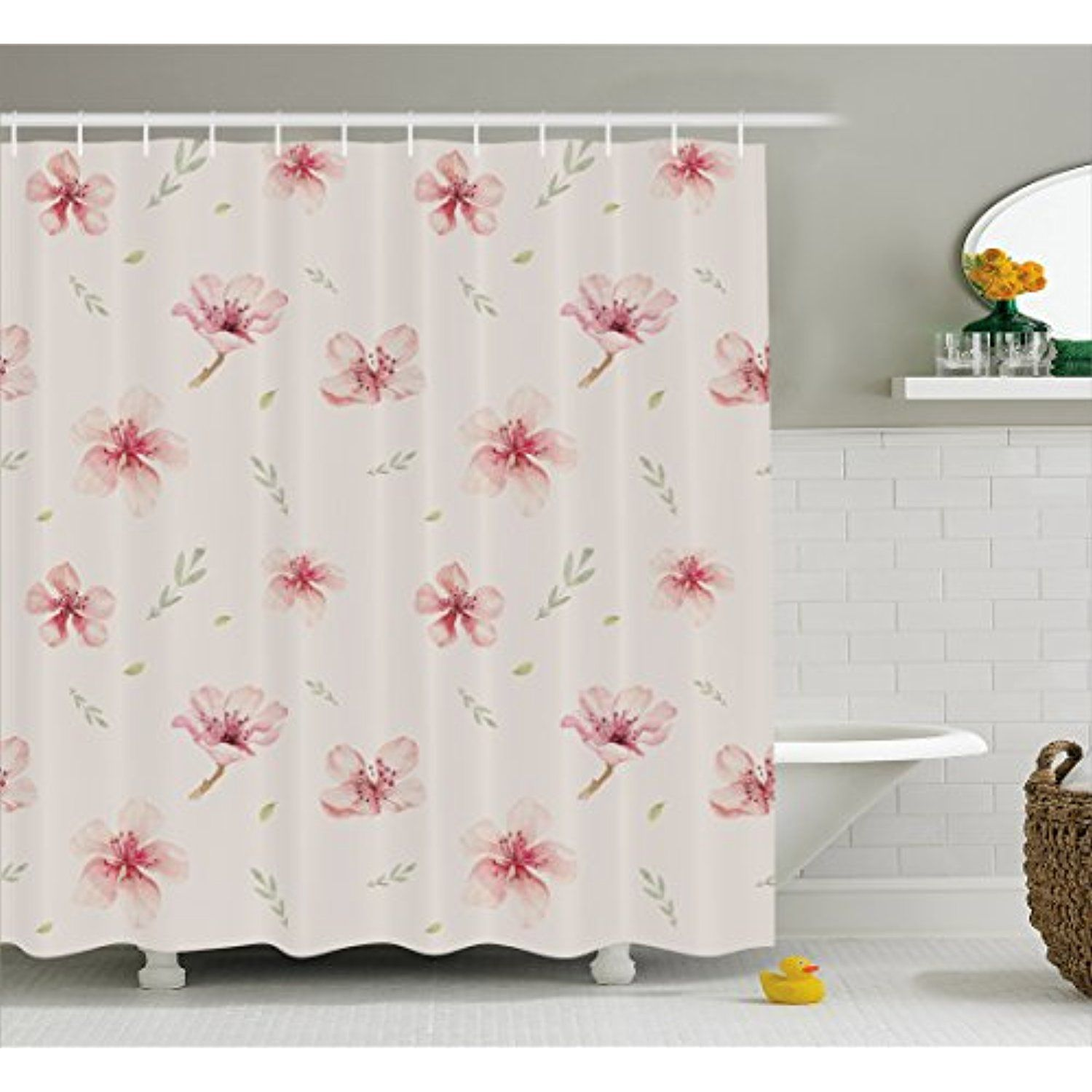 Dusty Rose Shower Curtain By Lunarable Vintage Pattern Of Cherry Blossoms Ornate Spring Garden Inspired