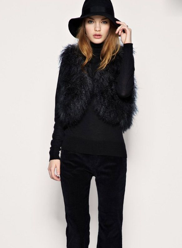grey and black fur jacket for women | Fur Vest Black White Fur ...