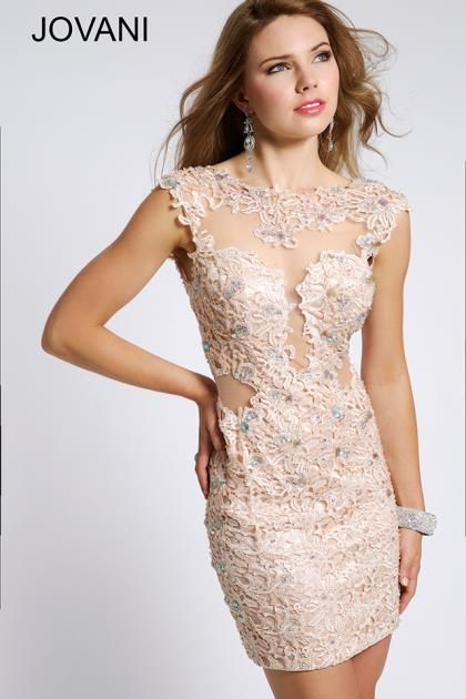 2014 Jovani Cocktail Homecoming Lace Short Dress 98005
