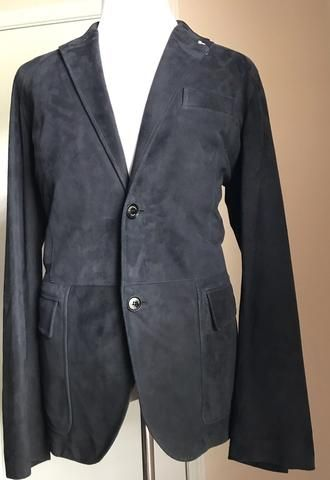 a751a03c6e New $6585 Ermenegildo Zegna Leather/Suede Sport Coat Blazer Blue 46 ...