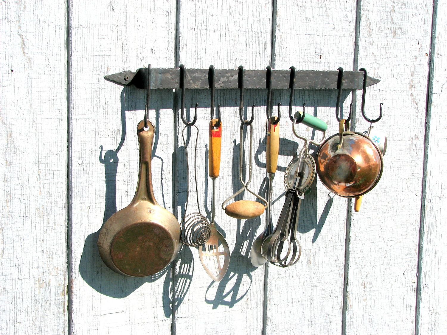 Hand Forged Iron Hammered-Style Utensil Rack and Hooks by VinTin ...