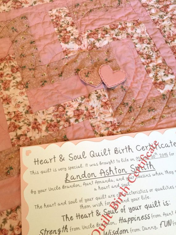 Heart and Soul Shabby Chic Baby Quilt  Bring by HeartandSoulQuilt