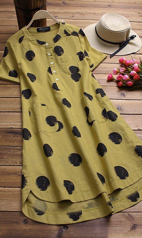 Gracila brand from NEWCHIC. Irregular Polka Dot Print Short Sleeve O-neck Vintage Dresses. #vintagedresses