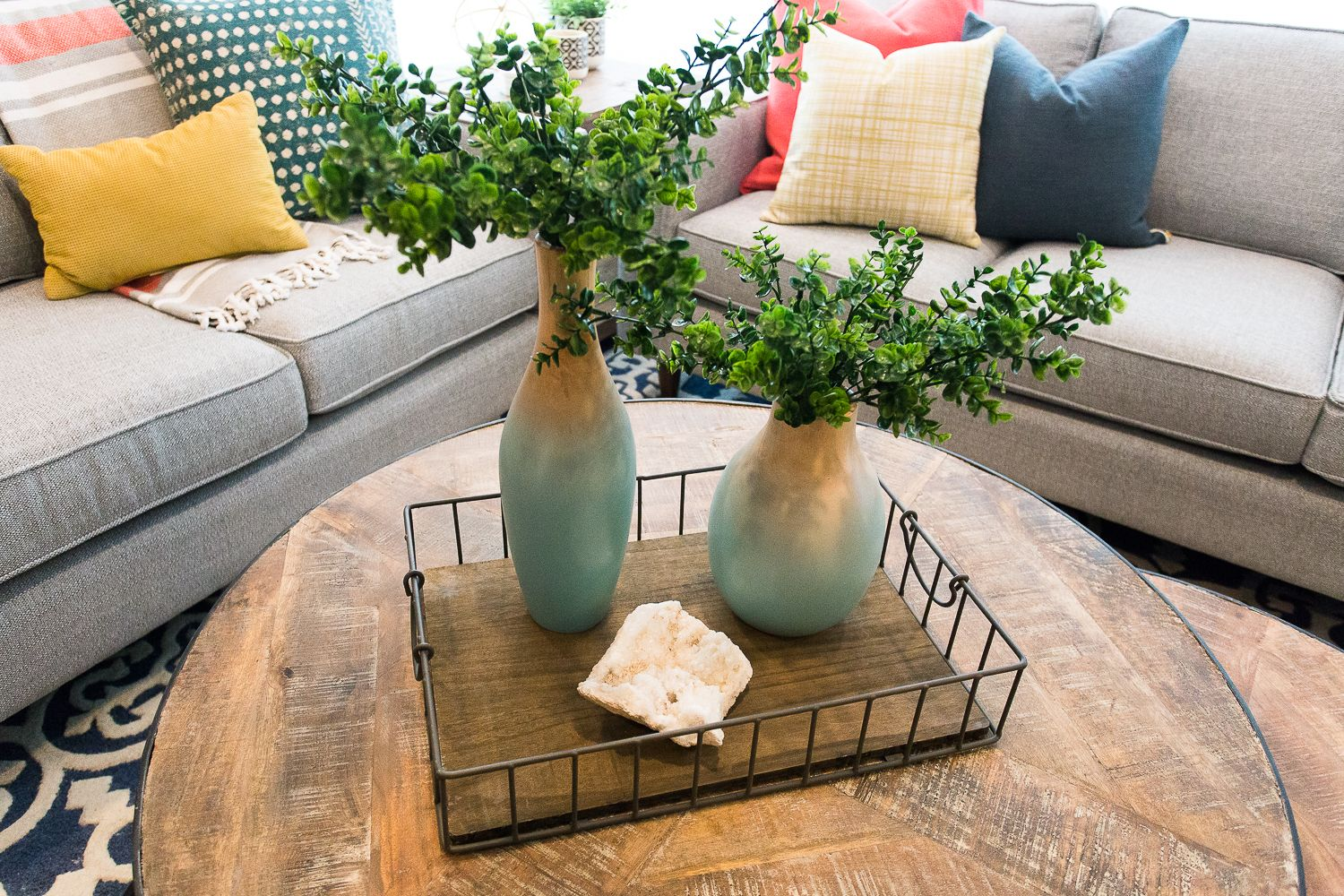 51 Ideas For How To Style A Round Coffee Table Coffee Table Decor Tray Round Coffee Table Decor Decorating Coffee Tables [ 1125 x 750 Pixel ]