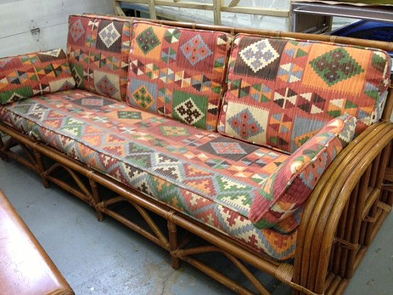 Beautiful Vintage Rattan Sofa And Chair Southwest Upholstery By Jennykb10, $1400.00