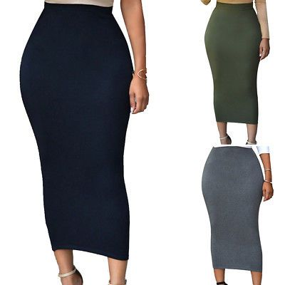 eb6dc88a6d6 Womens Club Party Bodycon Skirt Sexy Pencil Maxi Dress High-waisted Plus  Size
