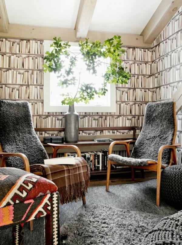 moderne tapeten ausgefallenes muster mit büchern Wandgestaltung - moderne wandgestaltung mit tapeten