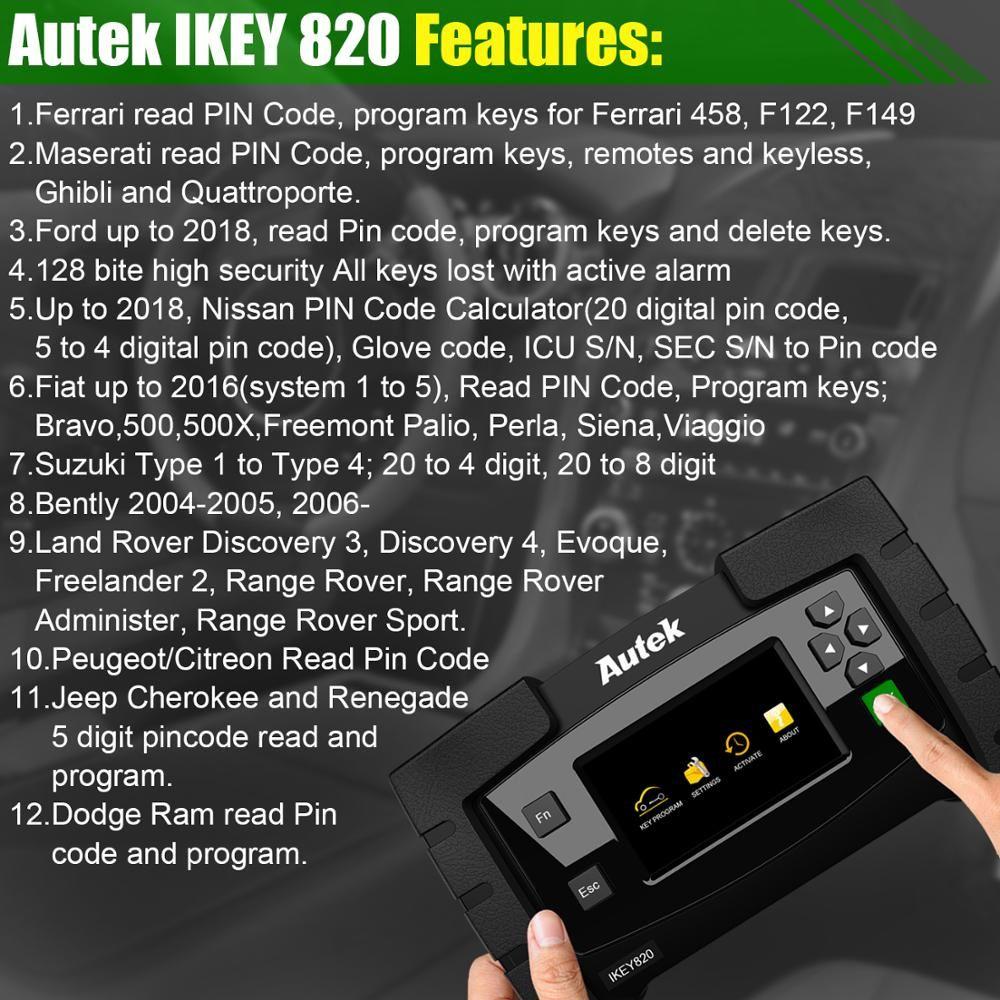 Original Autek IKey820 OBD2 Car Key Programmer Key