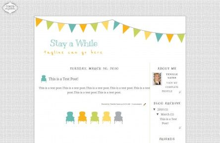 stay awhile 2 column free cute blog template layout   Blog your ...