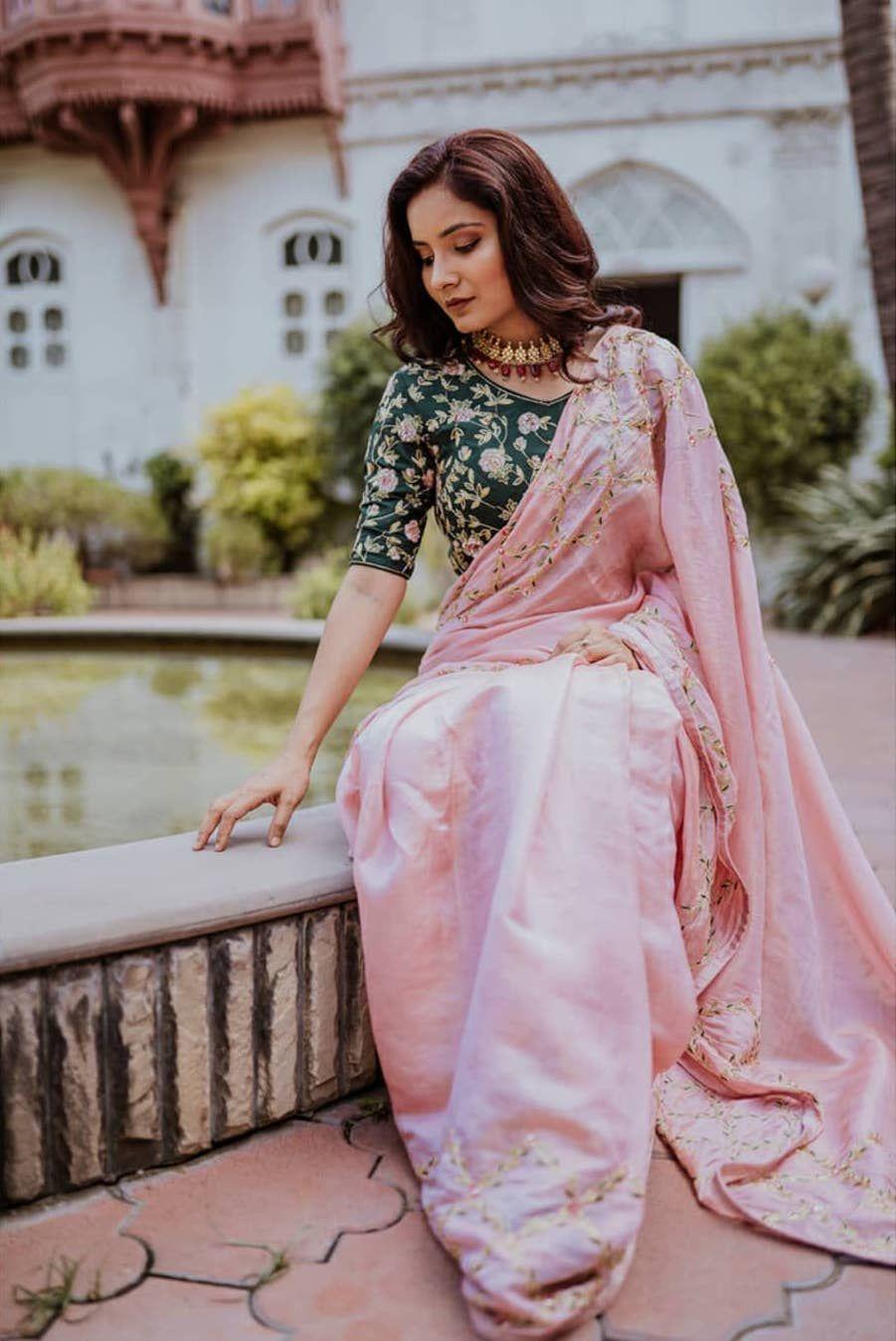 Photo of Pink wedding saree Green blouse