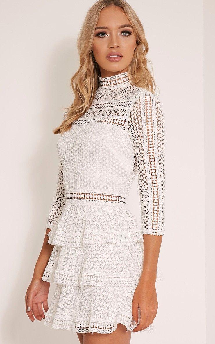 Caya White Lace Panel Tiered Mini Dress Dresses Prettylittlething Dresses Mini Dress Pretty Dresses [ 1180 x 740 Pixel ]
