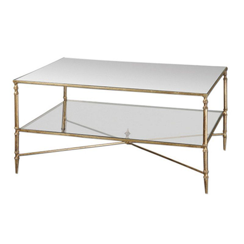 A Forged Iron Frame And Iron Cross Stretchers Give This Sophisticated  Coffee Table A Streamlined Look. With A Mirrored Top And A Clear, Tempered  Glass Shelf ...