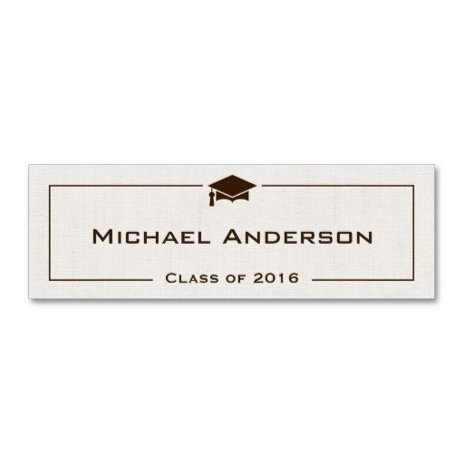 Class Of Graduation Name Card Classic Linen Look Zazzle Com Name Cards Custom Business Cards Christmas Letter Template