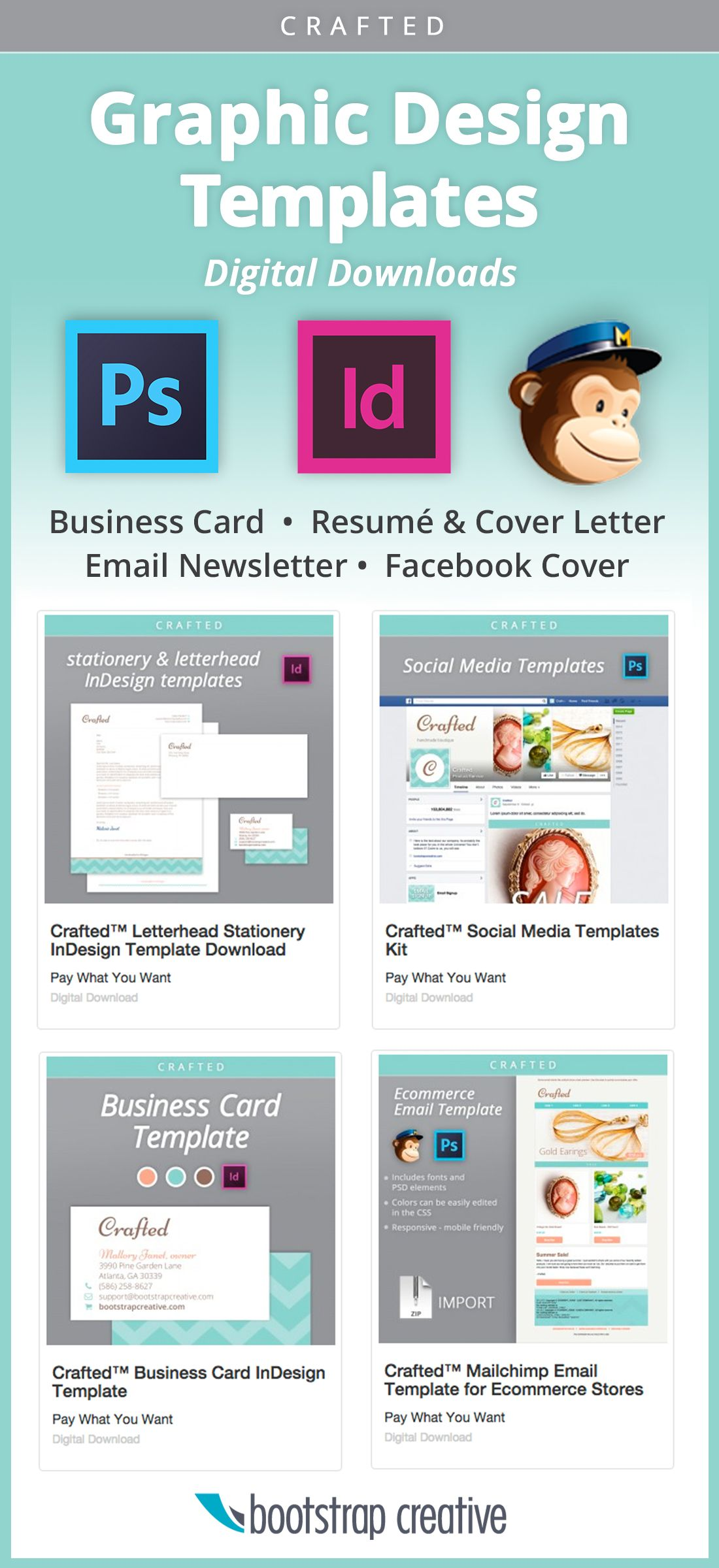 Email newsletter template, business card template, social media templates,  business letterhead, and more; Pay what you want graphic design templates.