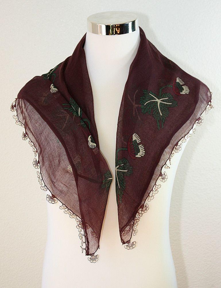 vintage turkish scarf head wrap burgundy floral cotton gauze 31 x 31