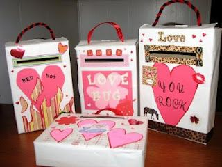 Three cereal boxes decorated by, probably children, with slots to accept valentine cards