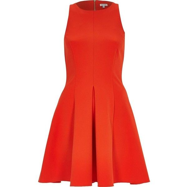 River Island Red textured crepe skater dress (899.600 VND) ❤ liked on Polyvore featuring dresses, river island, red, sale, women, skater skirt, red dress, circle skirt, skater dress and sleeveless dress
