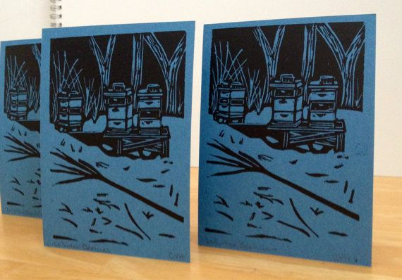 Set of 3 Winter Beehives handmade linocut cards on Etsy, $10.00