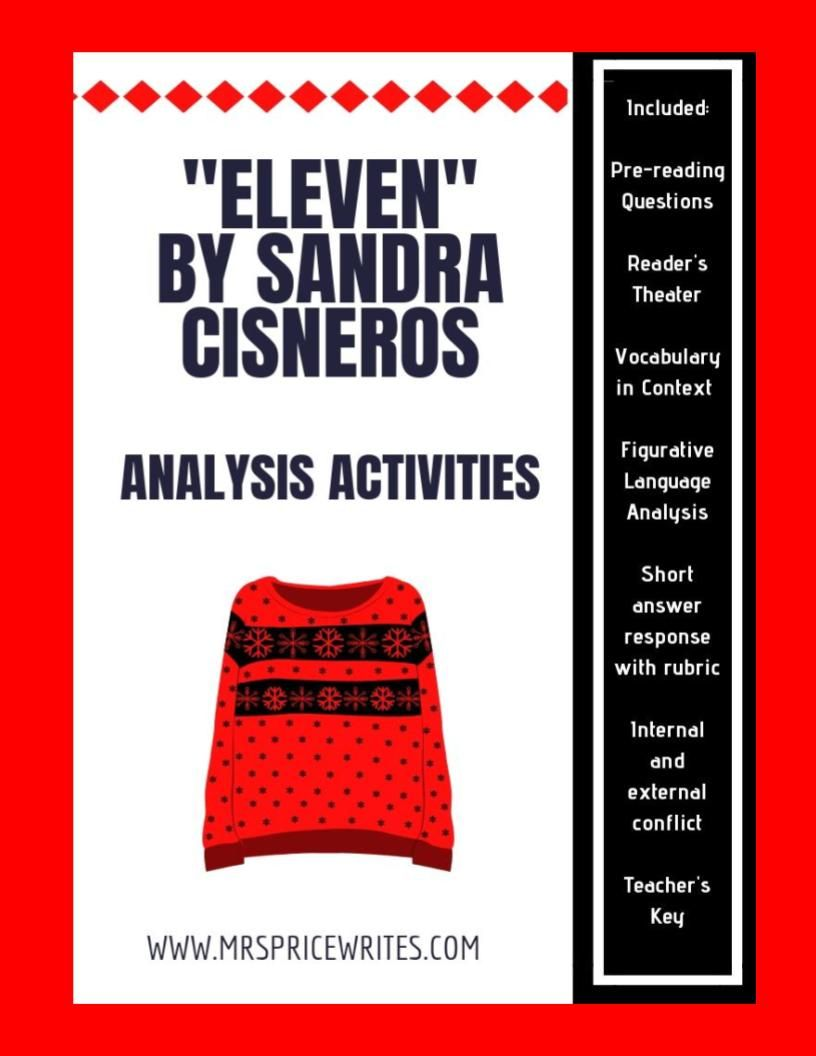 Argumentative Essay Topics High School Reading Comprehension Activities  Including Prereading Quick Writes  Vocabulary In Context Assessment Figurative Language English Essay Ideas also Comparison Contrast Essay Example Paper Eleven By Sandra Cisneros Analysis Activities  Mentor Texts  Healthy Food Essay