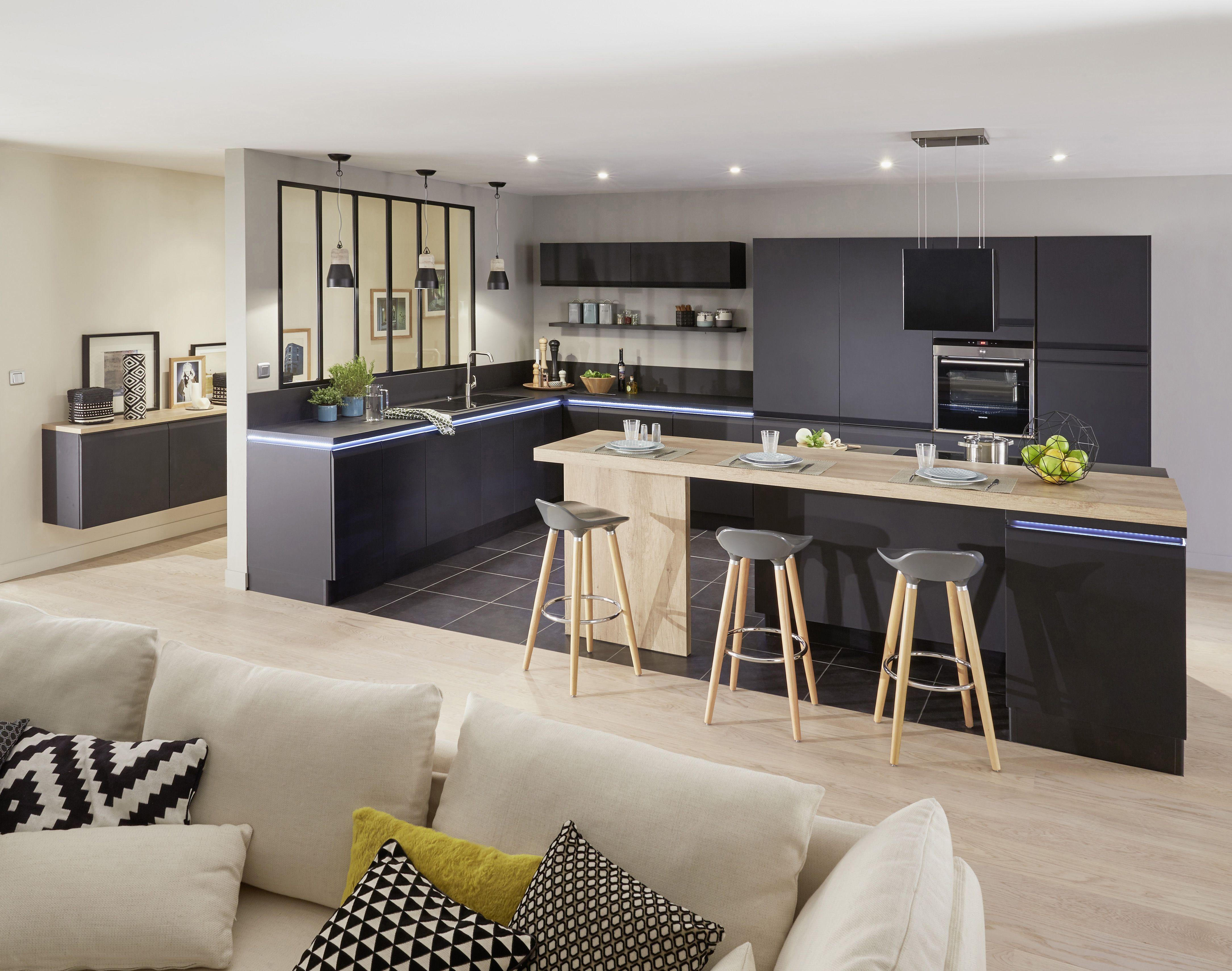 Charme Donkere Interieurs : Cuisine ytrac noir usez du charme de votre cuisine ytrac pour