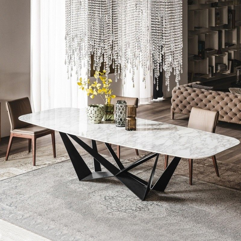 Modern Stylish Rectangle White Faux Marble Top Dining Table With Black Metal Base In Small Medium Large Dining Table Marble Modern Dining Table Contemporary Dining Table