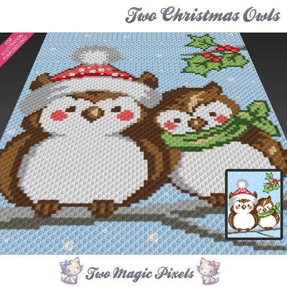 Two Christmas Owls C2c Graph Crochet Pattern Instant Pdf Download