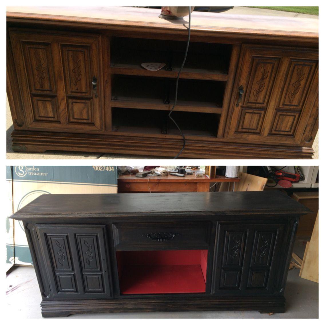 Old dresser refurbished into tv stand diy repurpose swivel tv