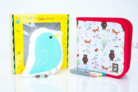 Jaq Jaq Bird Chalk A Color Book with Jaq Jaq Bird Gift Set