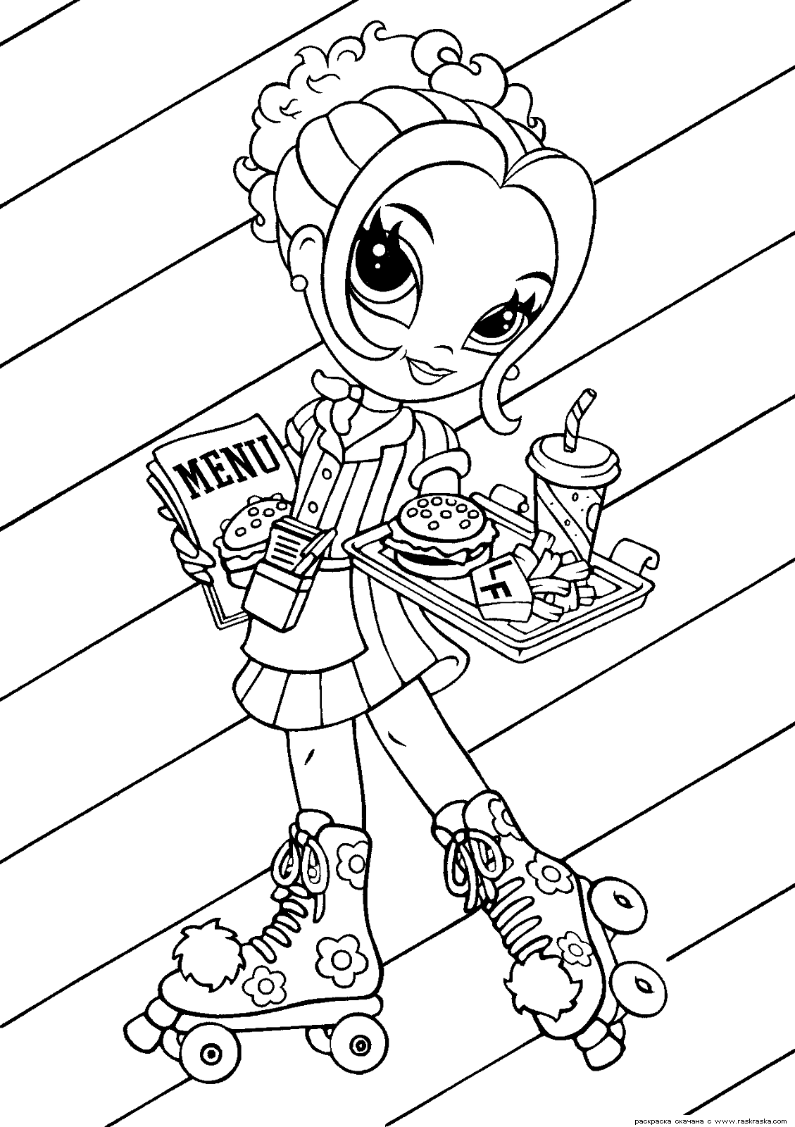 Free roller skating coloring pages - Lisa Frank Coloring Page Featuring Glamour Girl As A Roller Skating Waitress