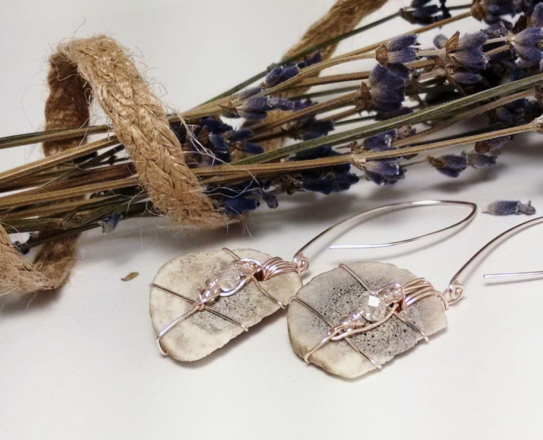 Rose Gold, Pink Crystal Michigan Deer Antler Dangle Earrings, Unique Deer Antler…
