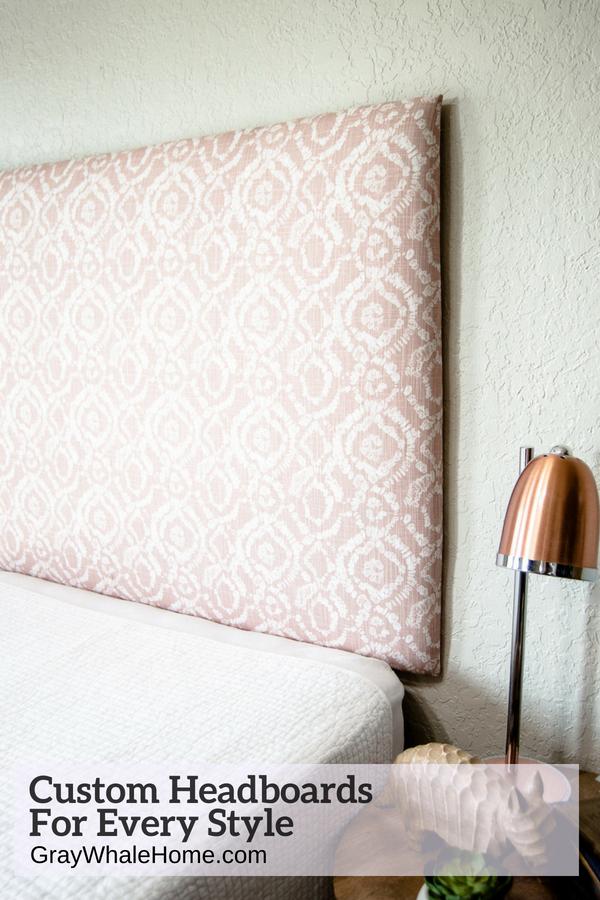 Dorm Room Headboards: Tall Dorm Headboard, Twin Headboard, Blush Printed Fabric