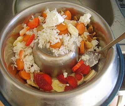 turkey, chicken, rice, carrot, cottage cheese, banana, strawberries