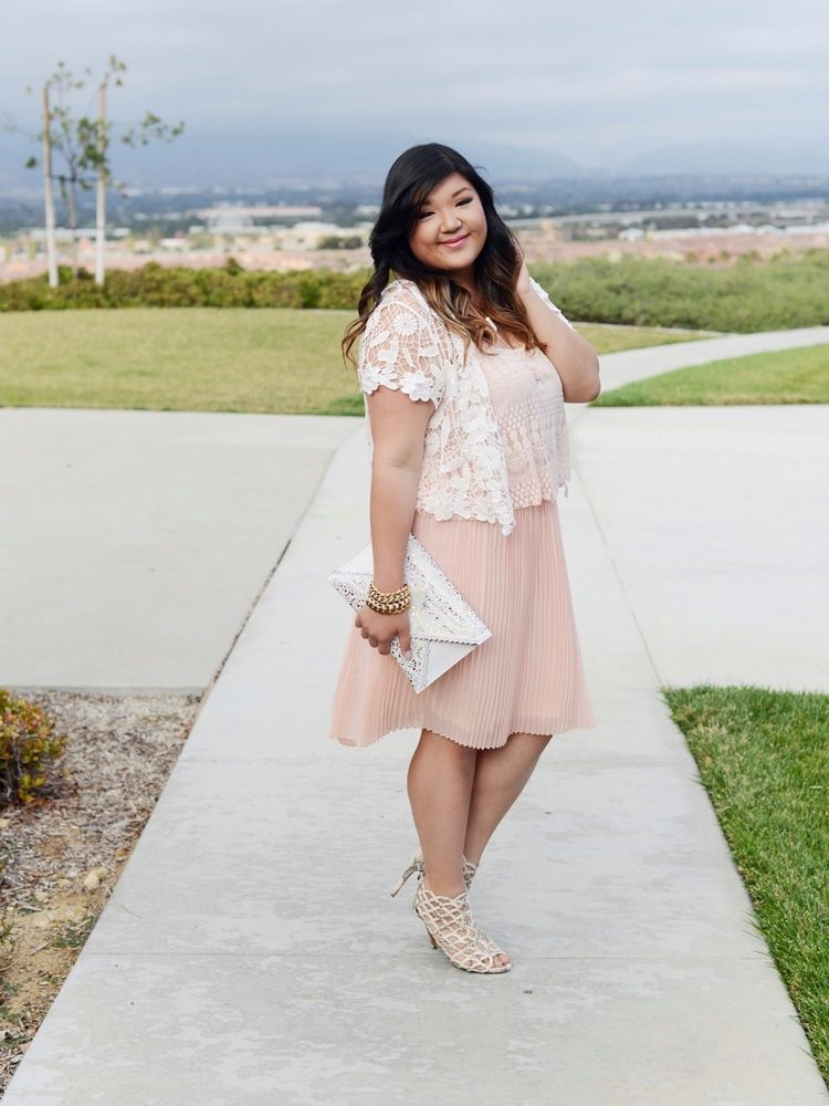 4f9419c1c52 Curvy Girl Chic Plus Size Fashion Blog Charlotte Russe Plus Crochet  Cardigan and Pink Pech Pleated Dress