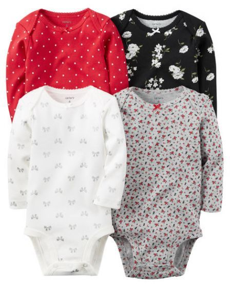 56643f511 4-Pack Floral Baby Girl Onesies/Bodysuits Long Sleeve 0-3-24 Months White  Black Red Grey