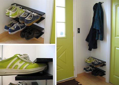 DIY Hanging Shoe Rack For Small Spaces.