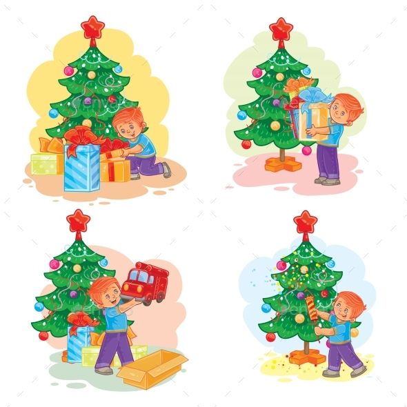 Set of vector icons little boy opening Christmas presents Easy