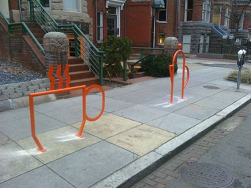 Coffee Themed Bike Racks In Front Of Filter Washington Dc