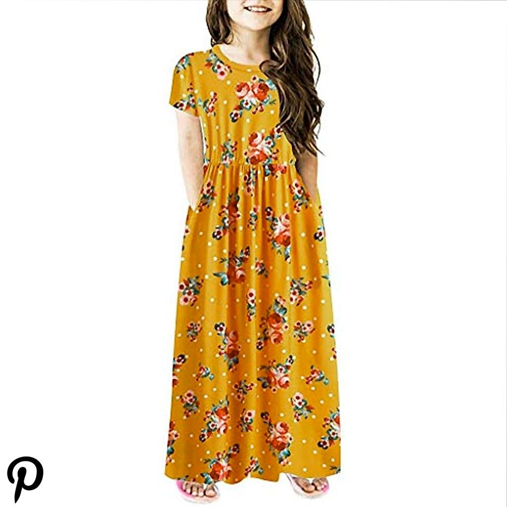 Children Kids Girls Short Sleeve Floral Print Dress Flower Dresses Clothes ShoesJewelry Children Kids Girls Short Sleeve Floral Print Dress Flower Dresses Clothes ShoesJe...