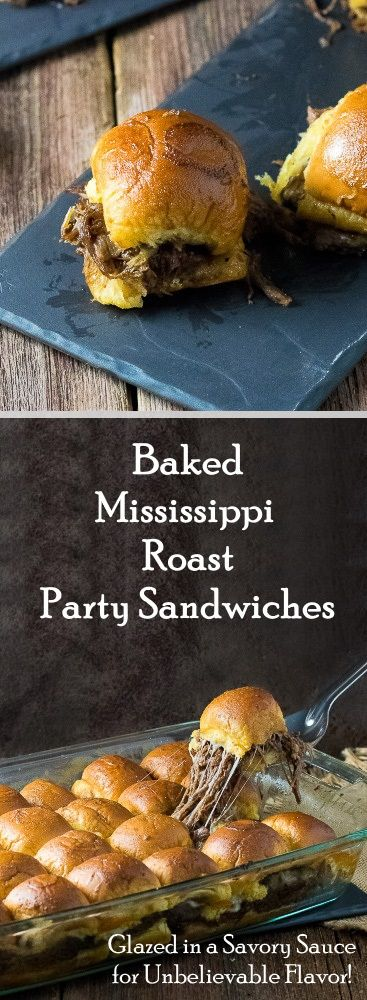 Baked Mississippi Roast Party Sandwiches on Martin's Party Potato Rolls!  Flavorful shredded beef, oozing melted cheese, and Martin's Party Potato Rolls drenched in a savory, buttery sauce...delicious!  These sandwiches are super easy to make and sure to be enjoyed by all your holiday guests this Christmas!