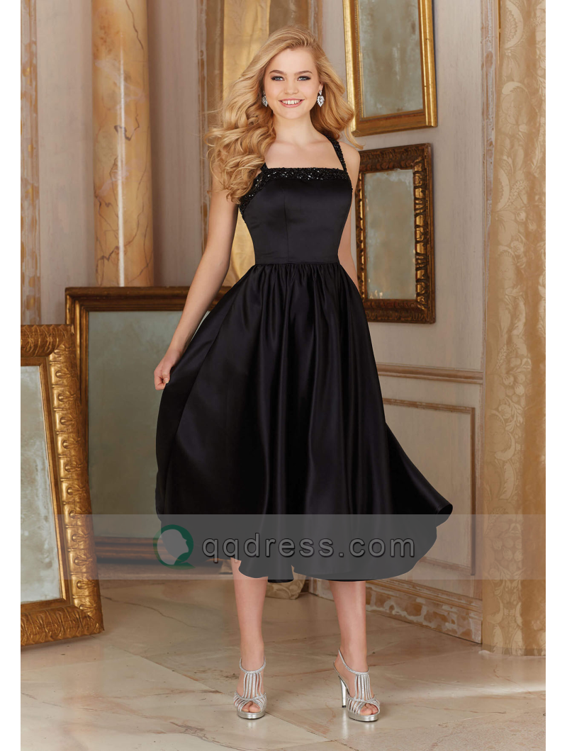 Beaded straps and bust satin little black bridesmaid dress beaded straps and bust satin little black bridesmaid dress homecoming dress ombrellifo Images