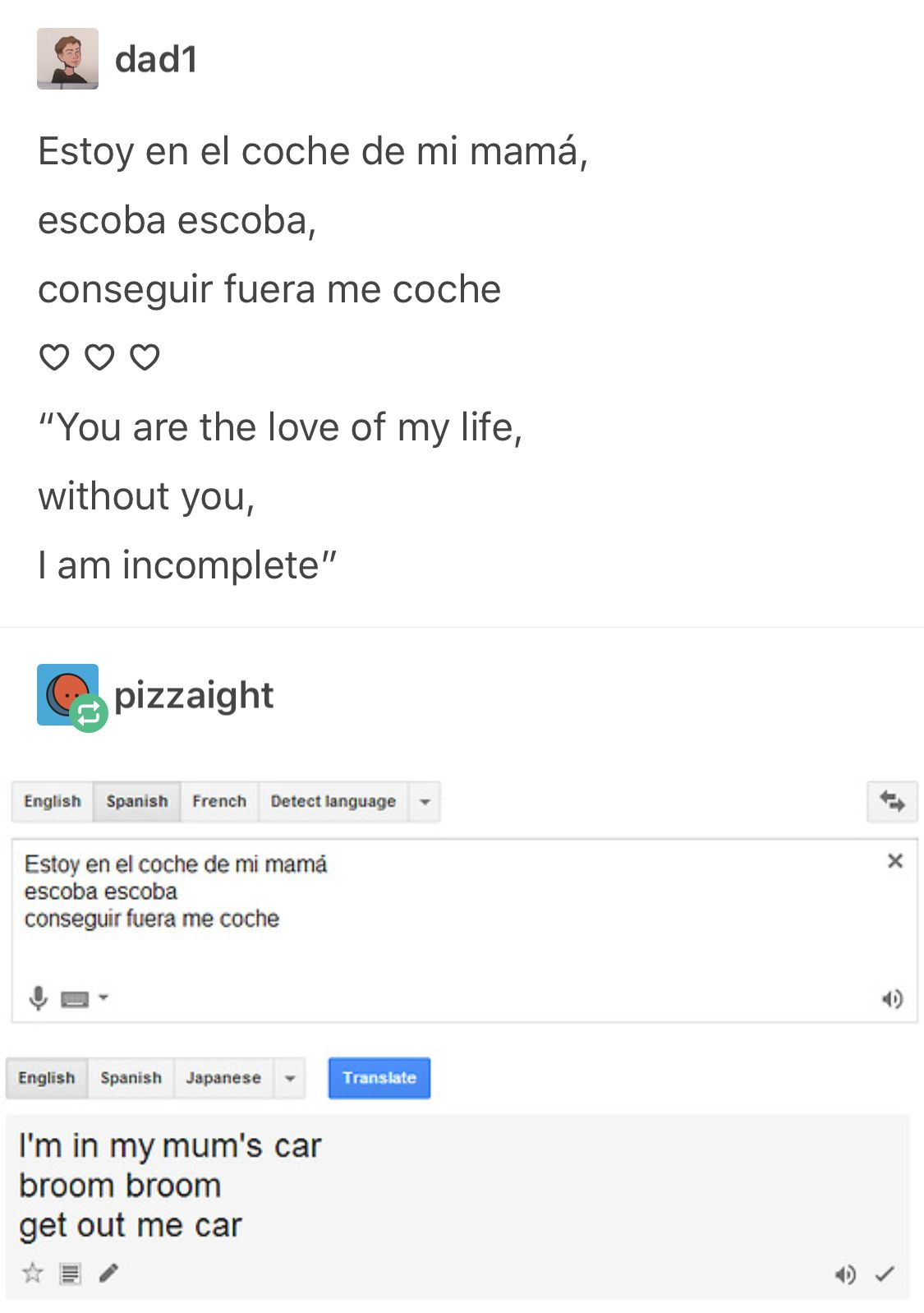I Didn T Even Need To Read The Translation Ayy The Take Of Spanish Is Usefilling And The Language English Funny Pictures Tumblr Tumblr Funny Funny Messages