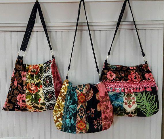 Floral carpet bag with vintage velvet | Carpet bag ...