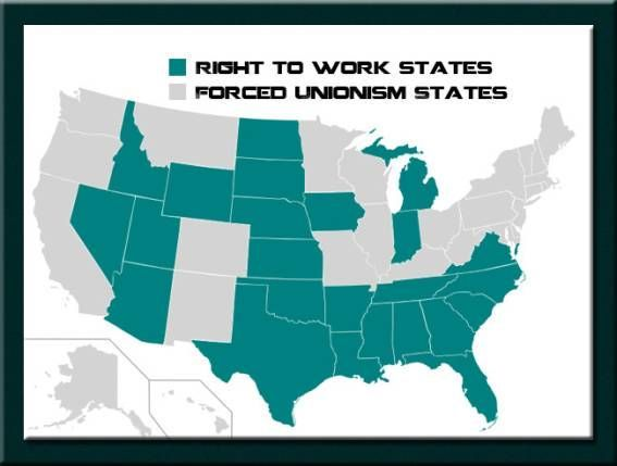 Right To Work States Vs Union States Map.Missouri House Endorses Right To Work Bill Geography Pinterest