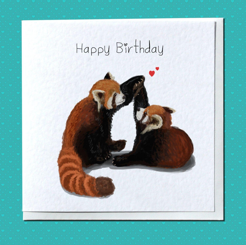 Personalised Red Pandas Birthday Card For Girlfriend Boyfriend Fiance Fiancee Husband Wife Partner Friend Bestie Cute Special Panda Birthday Cards Birthday Cards For Girlfriend Unique Cards